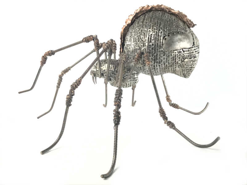 Male Spider more impressive than in real life, large format sculpture entirely in metal (unique piece)