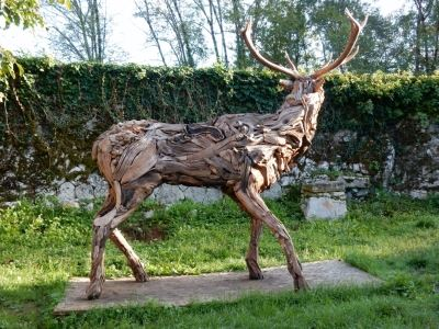 Majestic Deer in life-size made of driftwood (unique piece), really deer antlers